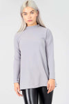 High Neck Long Sleeve Grey Swing Top - bejealous-com