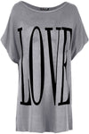 Love Slogan Print Oversize Turn Up Sleeve Tshirt - bejealous-com