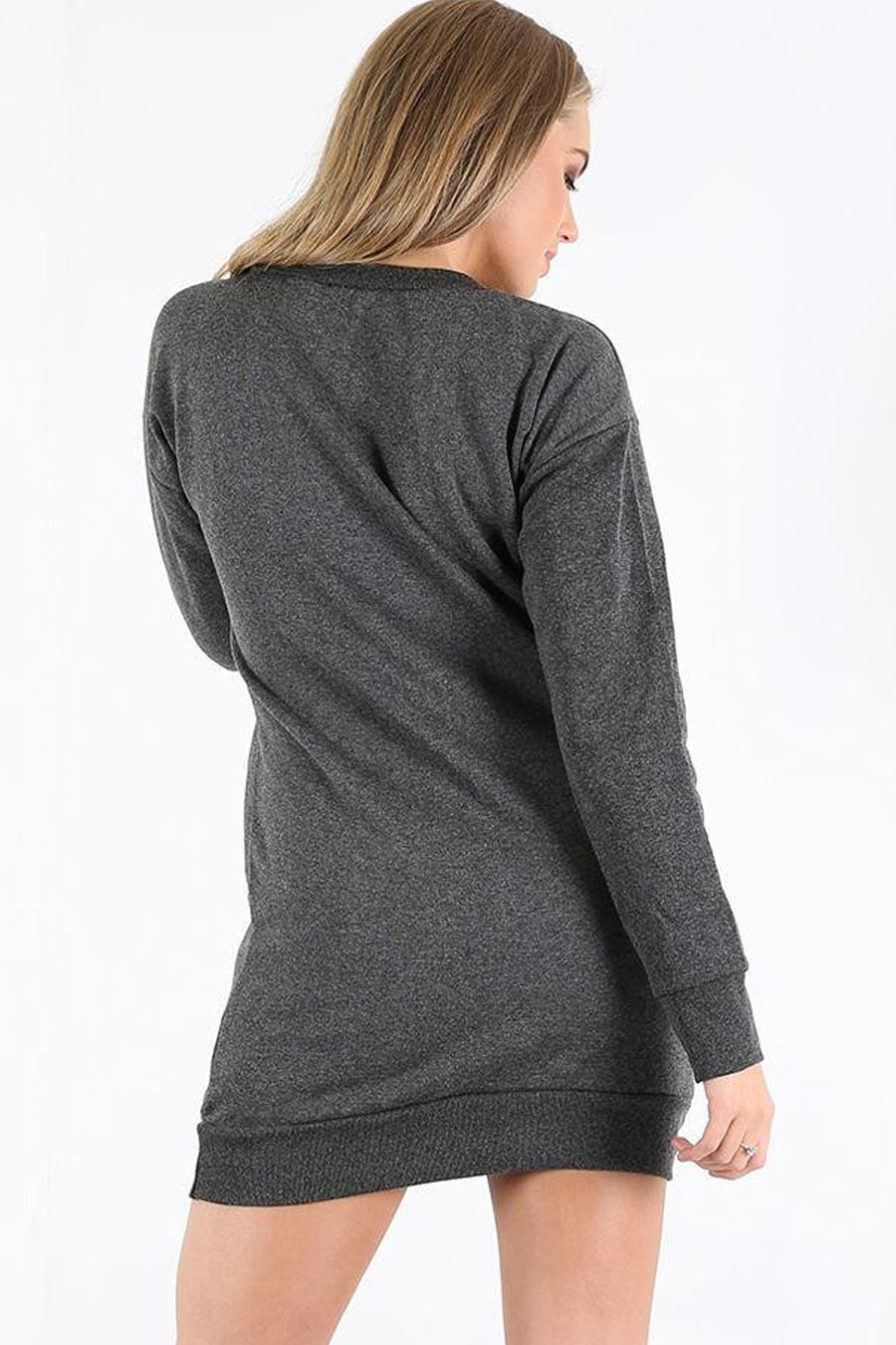 Long Sleeve Reindeer Grey Jumper Dress - bejealous-com
