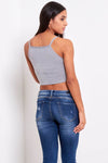 Strappy Grey Basic Jersey Cami Crop Top - bejealous-com