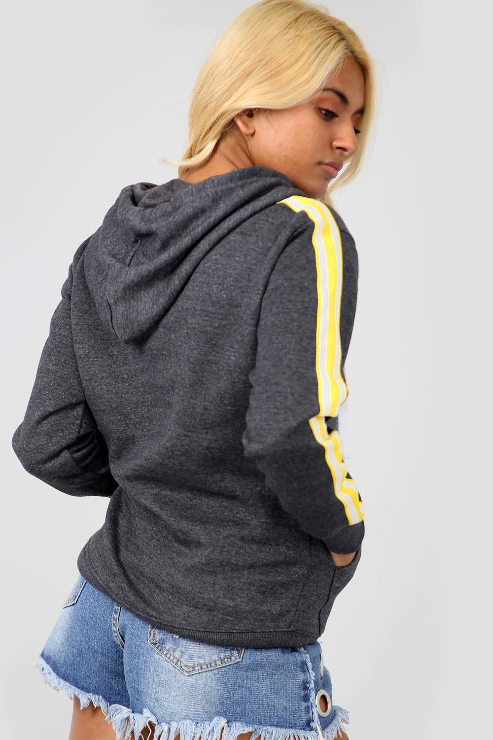 Grey Striped Sleeve Oversized Hooded Sweatshirt - bejealous-com