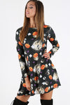 Long Sleeve Halloween Print Mini Dress - bejealous-com