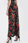 High Waist Belted Red Floral Wide Leg Trousers - bejealous-com