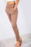 High Waisted Gold Button Navy Cigarette Trousers - bejealous-com