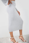 High Waist Basic Grey Midi Pencil Skirt - bejealous-com