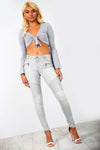 High Waist Grey Skinny Fit Biker Denim Jeans - bejealous-com