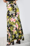 High Waist Green Tropical Print Maxi Skirt - bejealous-com