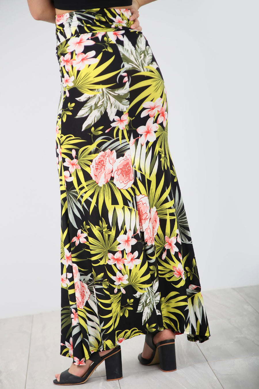 High Waist Green Tropical Print Maxi Skirt