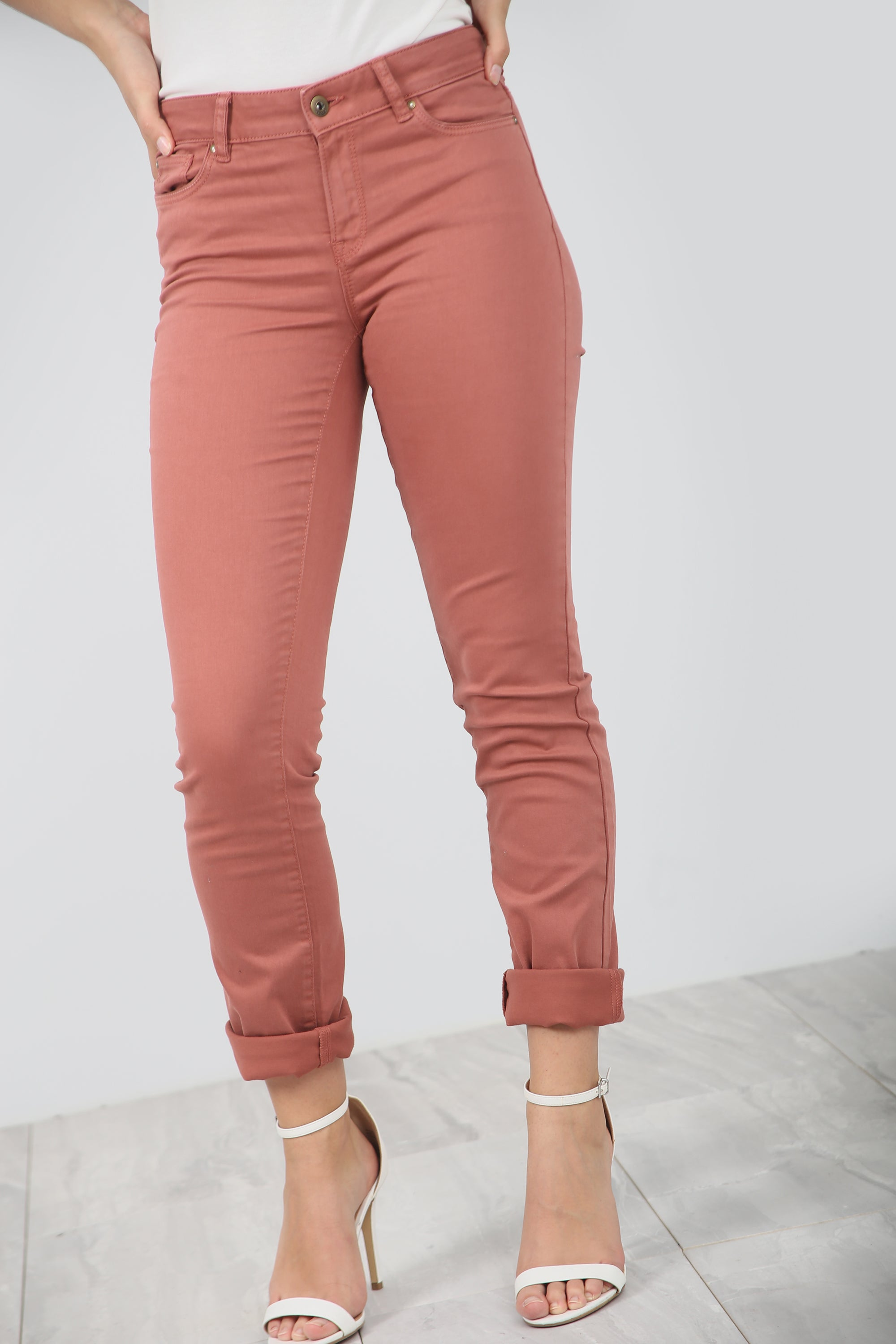 High Waist Slim Leg Pink Chino Trousers - bejealous-com
