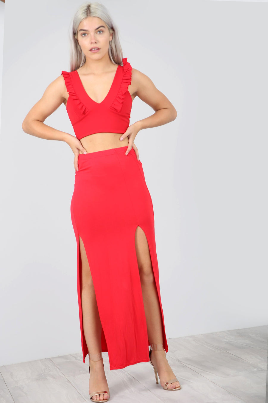 High Waist Red Thigh Split Basic Maxi Skirt - bejealous-com