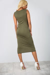 Sleeveless Basic Jersey Khaki Bodycon Midi Dress - bejealous-com