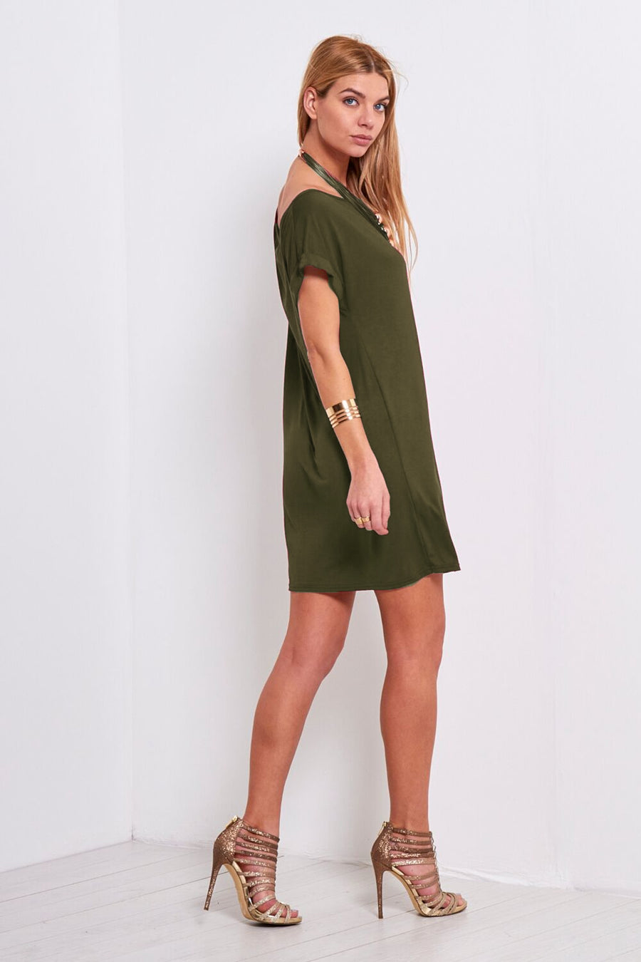 Khaki Off Shoulder Oversize Tshirt Dress - bejealous-com