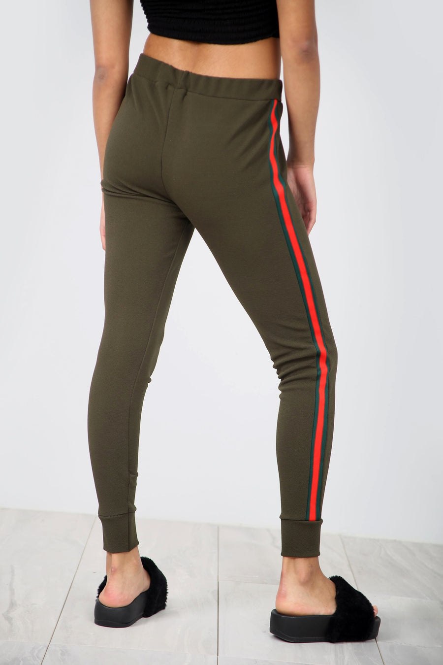 High Waist Side Stripe Narrow Leg Trousers - bejealous-com