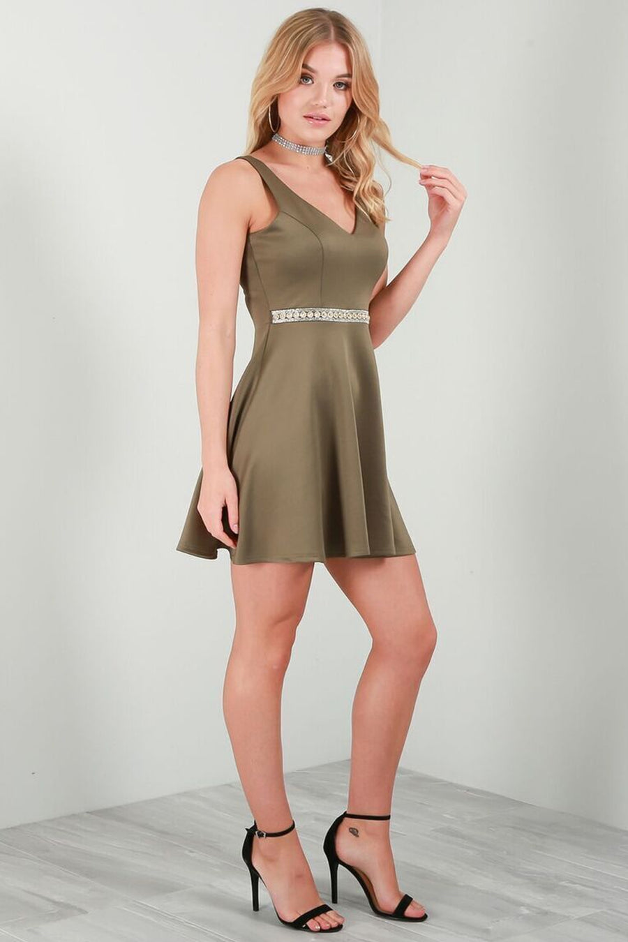 Sleeveless Diamante Waist Khaki Mini Skater Dress - bejealous-com
