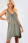 Sleeveless Hanky Hem Khaki Basic Mini Shift Dress - bejealous-com