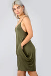 Strappy Basic Jersey Draped Khaki Mini Dress - bejealous-com