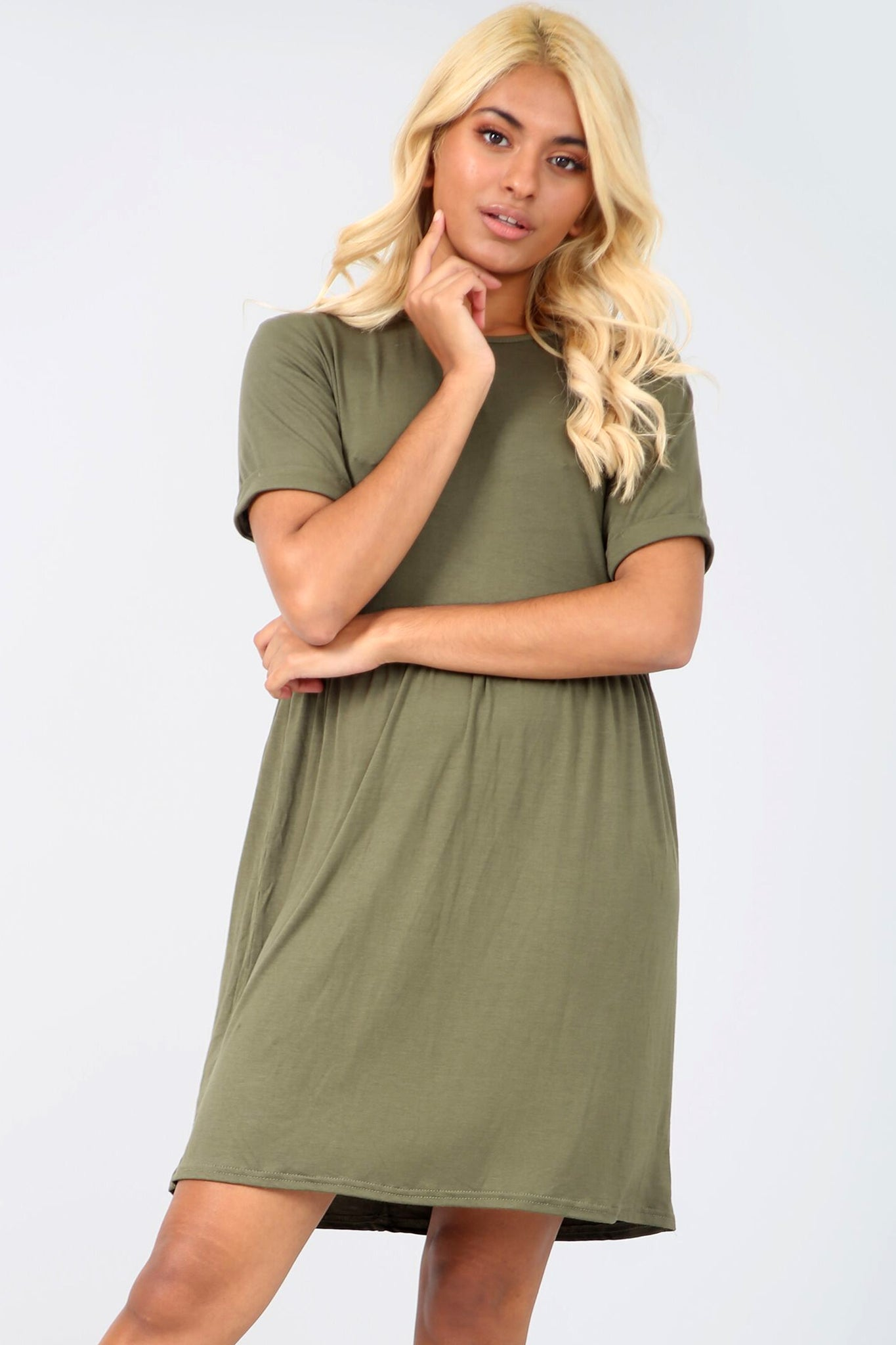 Turn Up Sleeve Khaki Basic Jersey Mini Dress - bejealous-com