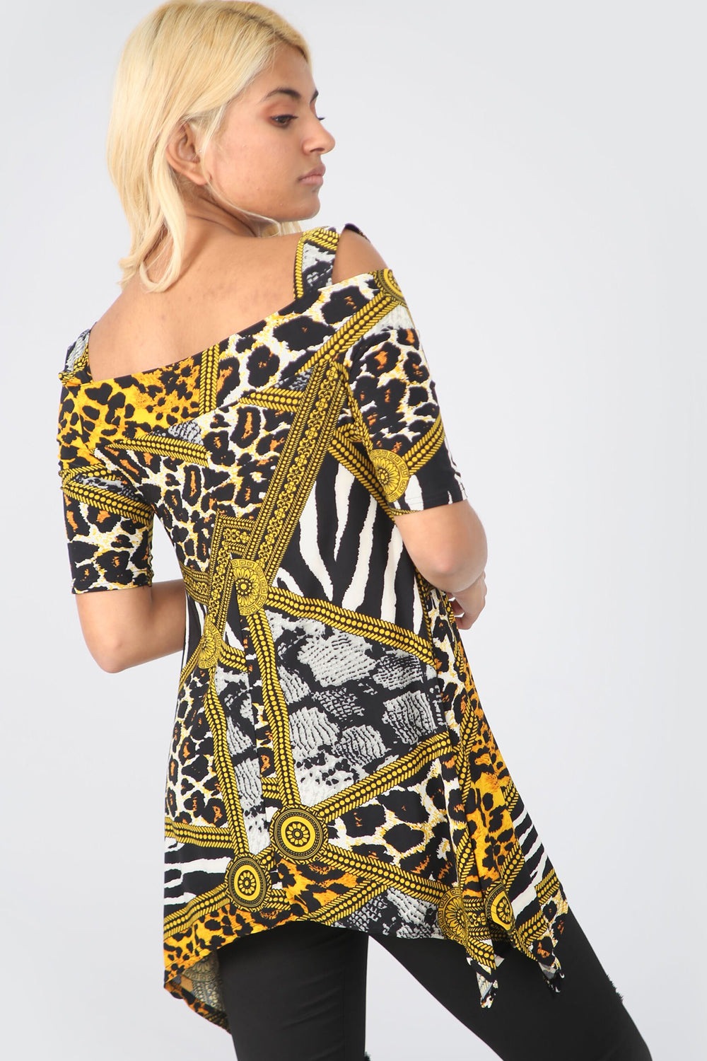 Cold Shoulder Leopard Print Dip Hem Top - bejealous-com