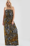 Animal Print Strapless Shirring Maxi Dress - bejealous-com