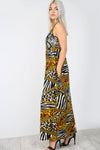 Racer Back Animal Print Maxi Dress With Pockets - bejealous-com