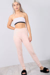 High Waist Fine Knit Slim Leg Jogging Bottoms - bejealous-com
