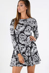 Long Sleeve Skull Print Halloween Dress - bejealous-com