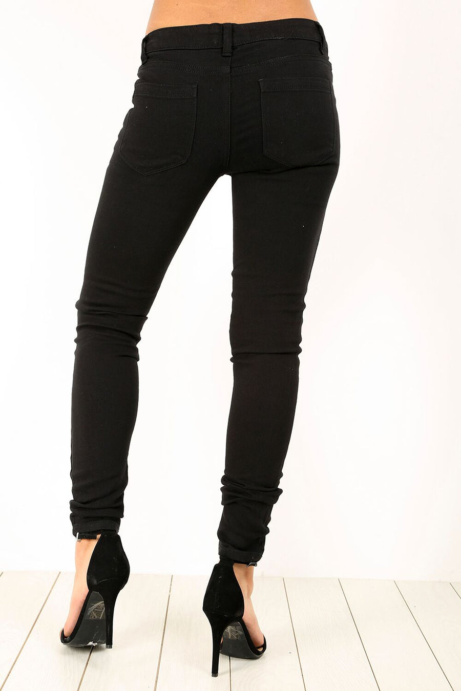 Mid Rise Stretch Black Skinny Denim Jeans - bejealous-com