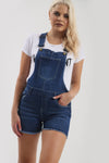 Masie Racer Back Frayed Hem Short Denim Dungaree - bejealous-com