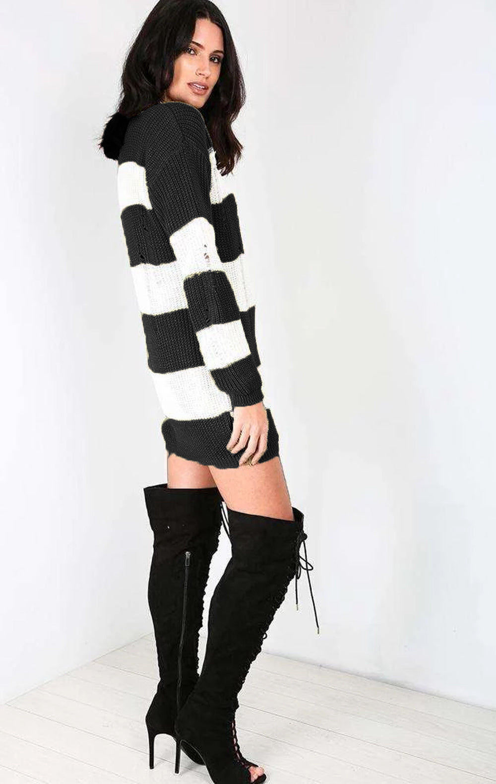 Jamelia Oversized Knitted Striped Jumper Dress - bejealous-com
