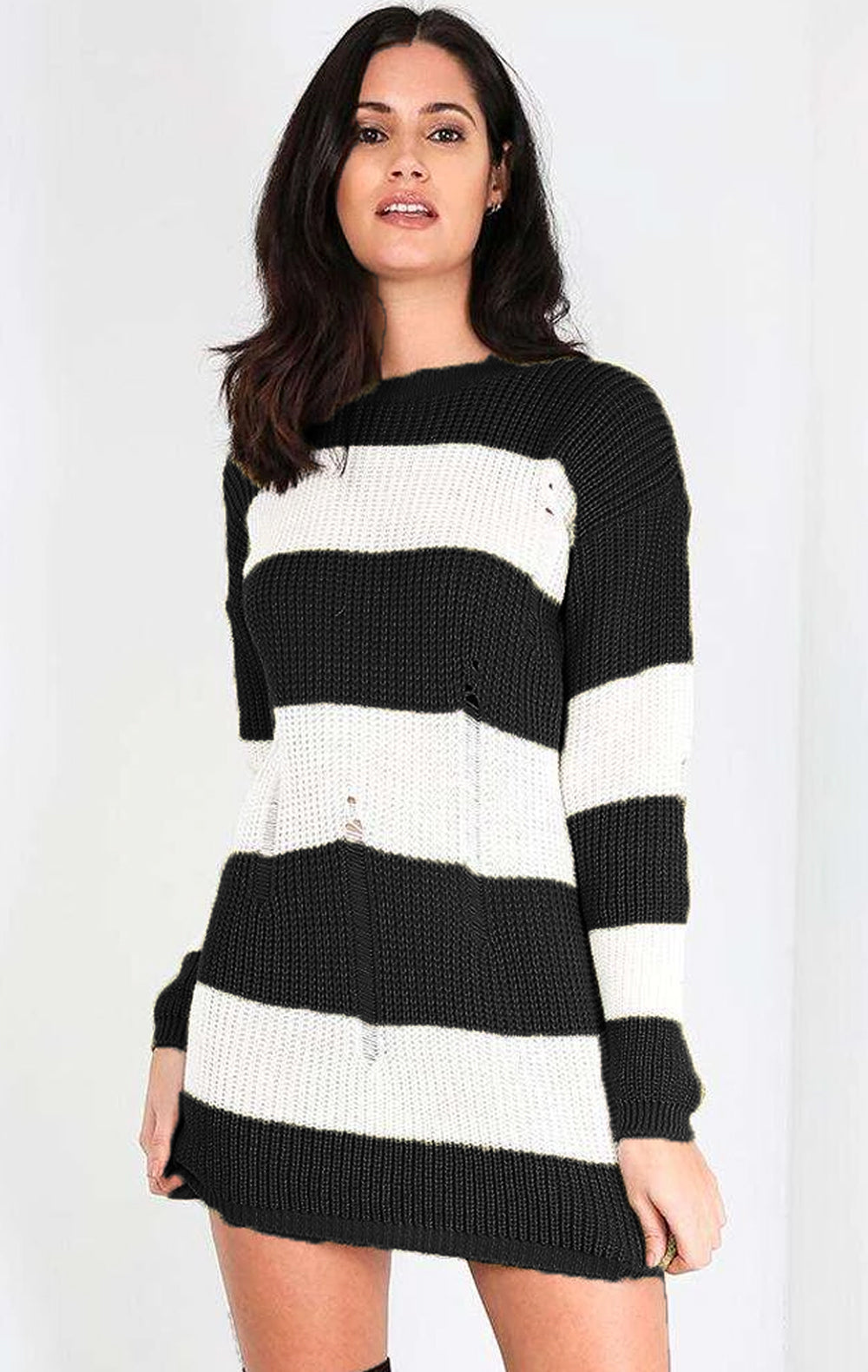 Long Sleeve Pink Striped Jumper Dress - bejealous-com