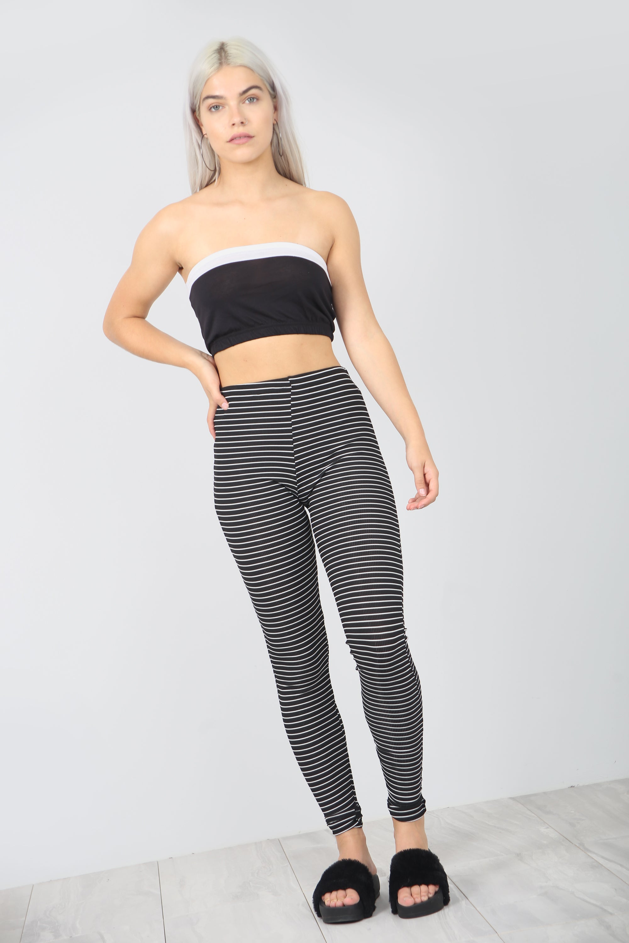 Lilliana High Waisted Stretch Striped Leggings - bejealous-com
