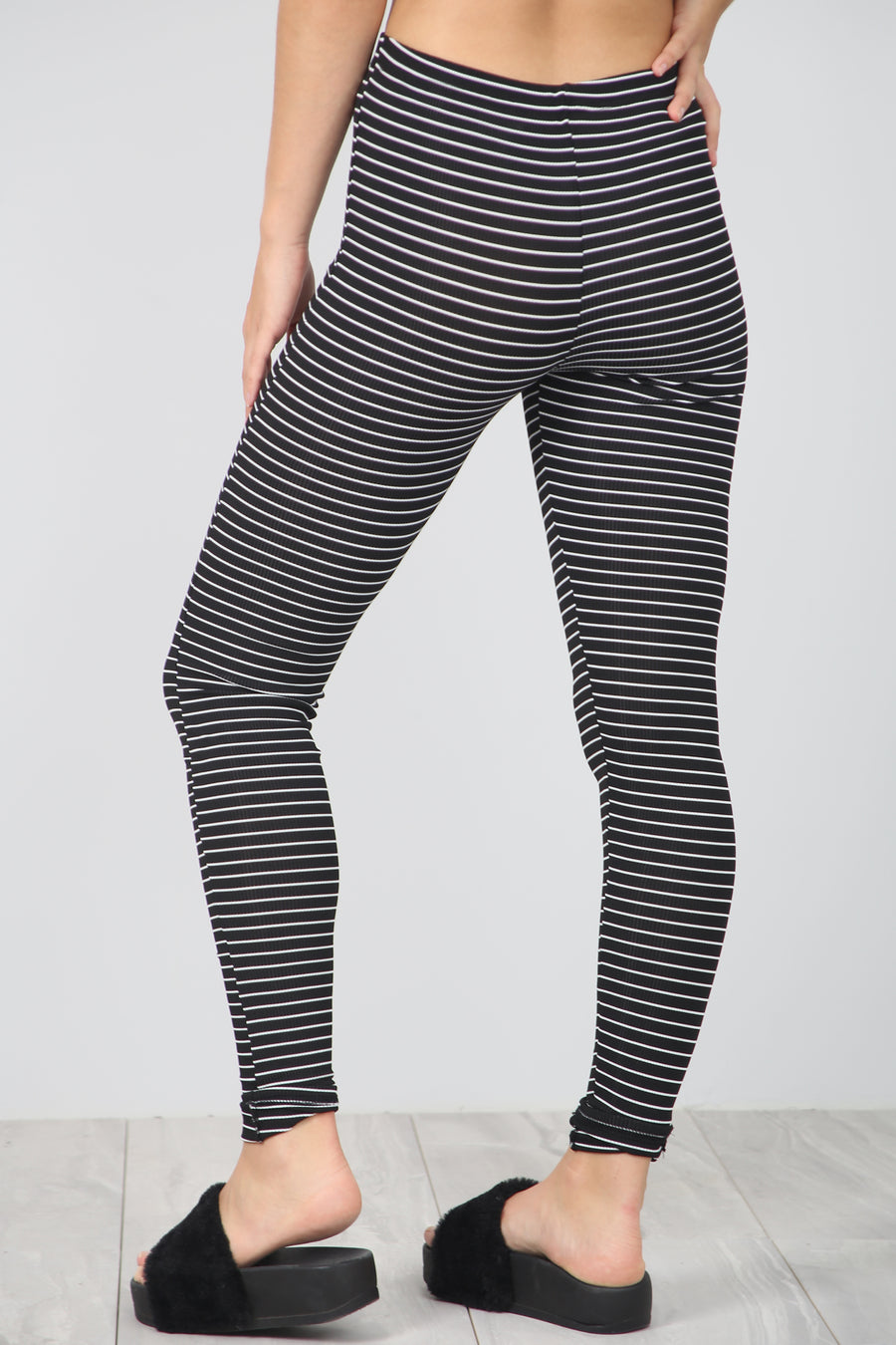 Monochrome High Waisted Stretch Striped Leggings - bejealous-com