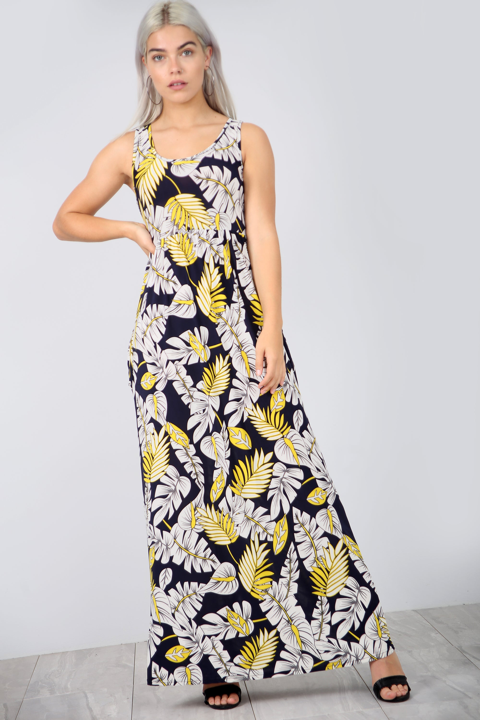 Floral Print Slinky Navy Maxi Dress With Pockets