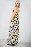Floral Print Slinky Navy Maxi Dress With Pockets - bejealous-com