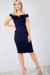 Navy Off Shoulder V Bar Midi Bodycon Dress - bejealous-com