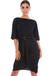 Navy Utility D Ring Midi Shift Dress With Pockets - bejealous-com