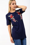 Navy Floral Rose Applique Baggy Tshirt - bejealous-com