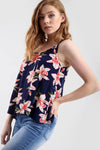 Strappy Tropical Floral Print Black Swing Top