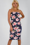 Navy Bandeau Floral Print Midi Bodycon Dress - bejealous-com