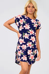 Floral Navy Curved Hem Baggy Tshirt Dress - bejealous-com