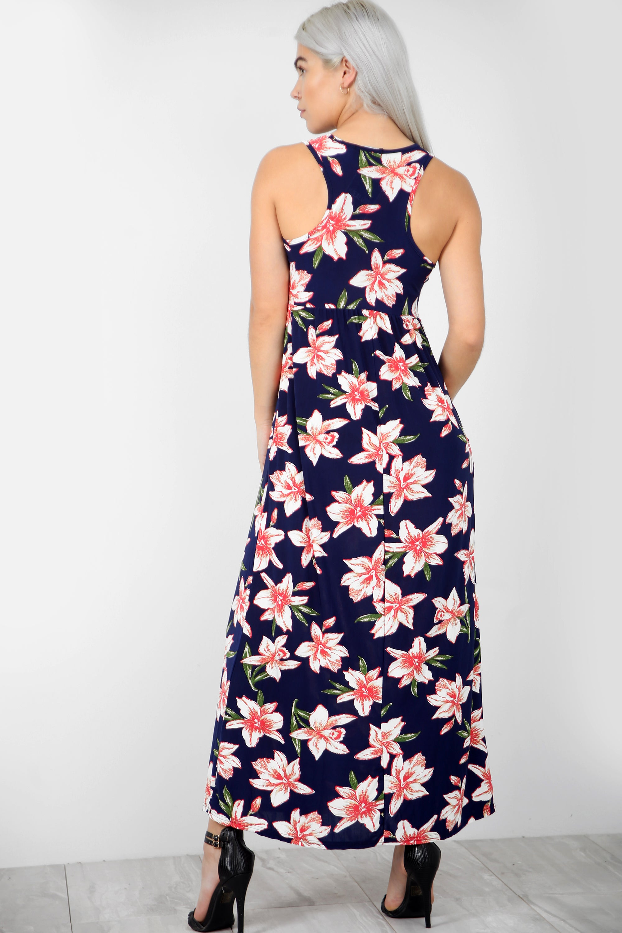 Tropical Print Purple Maxi Dress With Pockets - bejealous-com