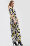 Off Shoulder Yellow Leaf Print Maxi Dress - bejealous-com