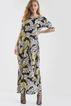 Off Shoulder Yellow Leaf Print Maxi Dress