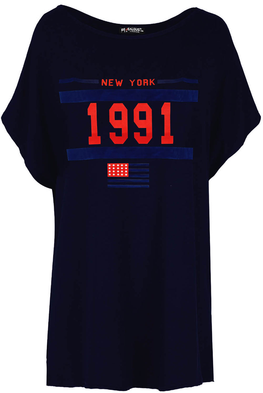 New York Oversized Slogan Bat Wing Tshirt - bejealous-com