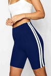 Monochrome Side Stripe Cycling Shorts - bejealous-com