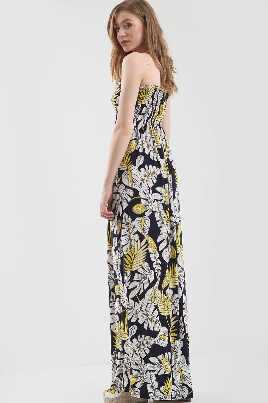 Navy Strapless Maxi Dress in Yellow Tropical Print - bejealous-com