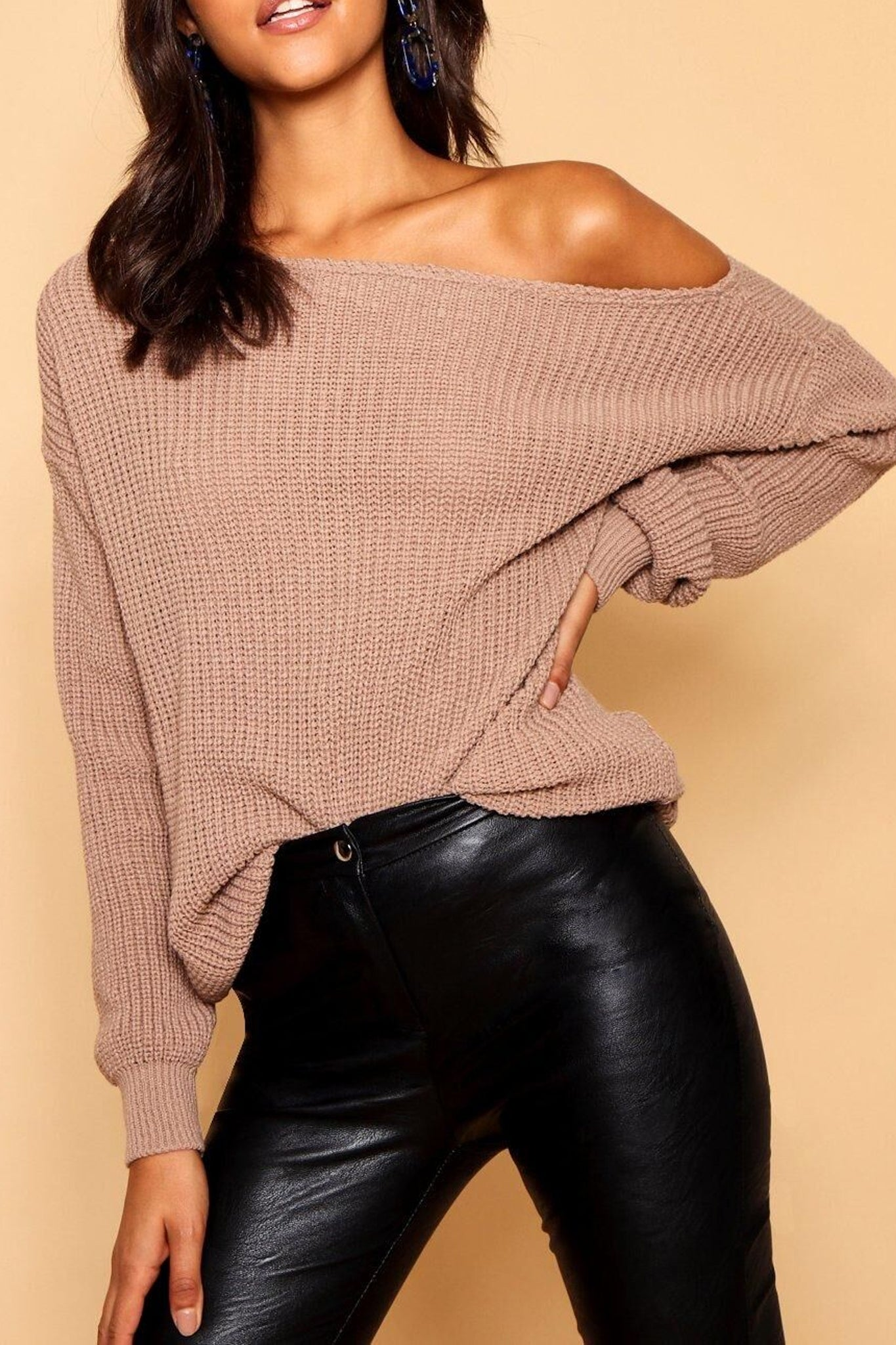 Off Shoulder Baggy Knitted Jumper - bejealous-com