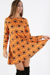 Long Sleeve Orange Halloween Mini Dress - bejealous-com