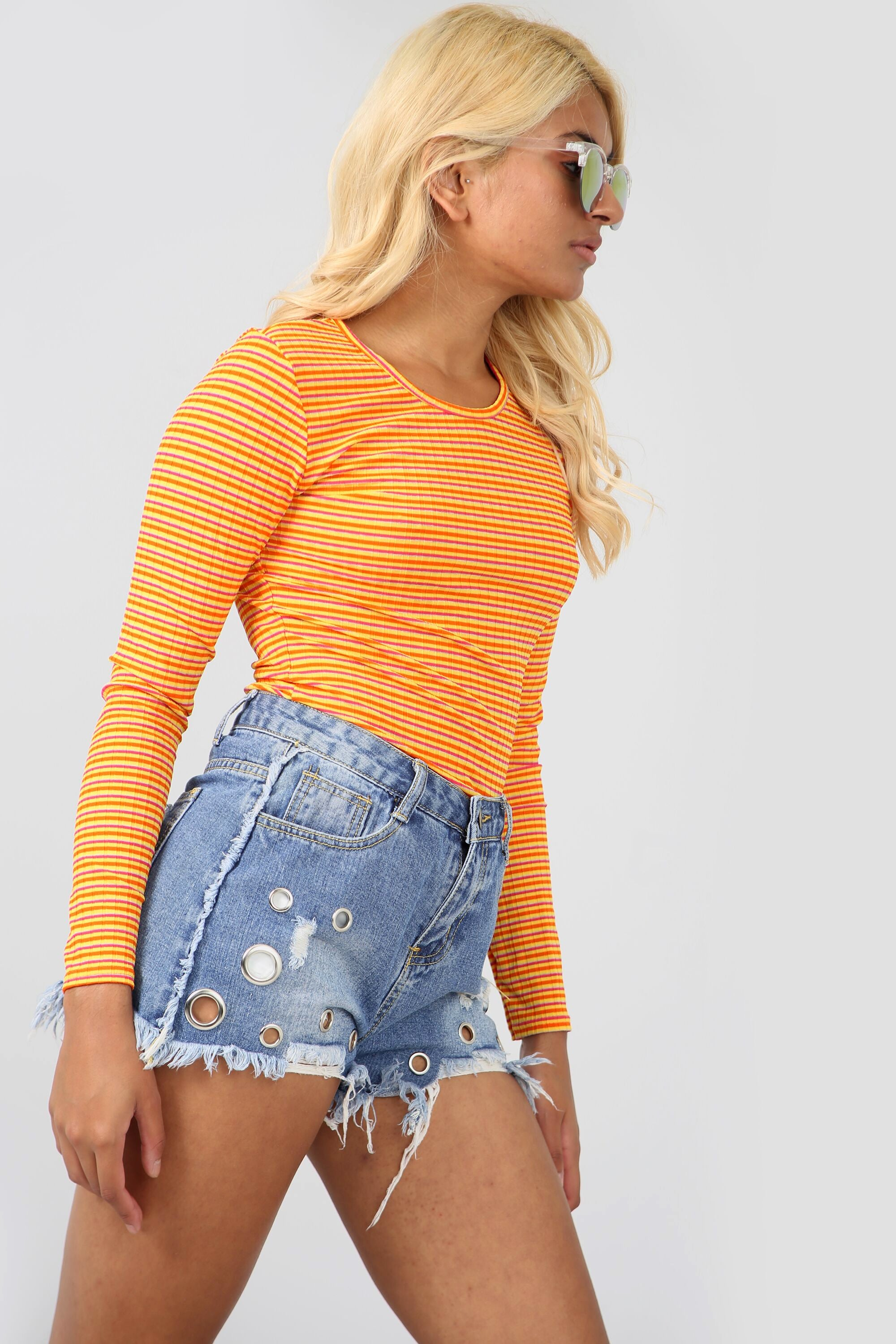 Long Sleeve High Neck Orange Striped Bodysuit - bejealous-com