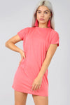 Basic Short Sleeve Tshirt Dress in Turquoise - bejealous-com
